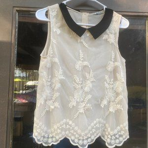 Chloe K See Through Lace Front Sleeveless Blouse